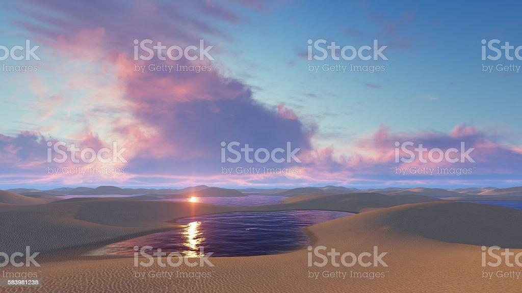 Sunset in Brazil desert national park stock photo