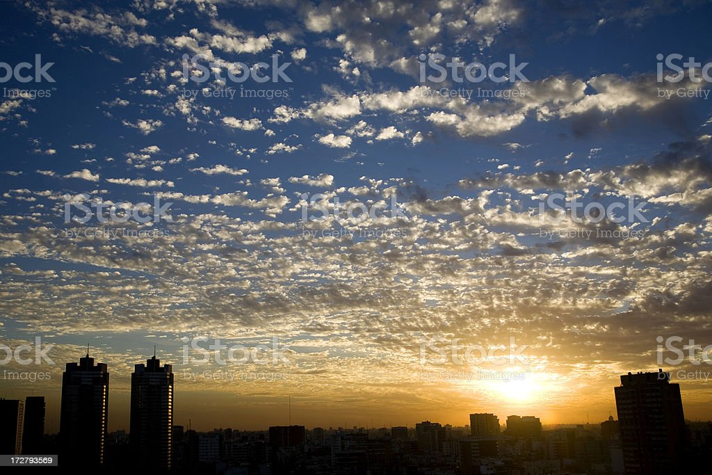 Sunset in Buenos Aires royalty-free stock photo