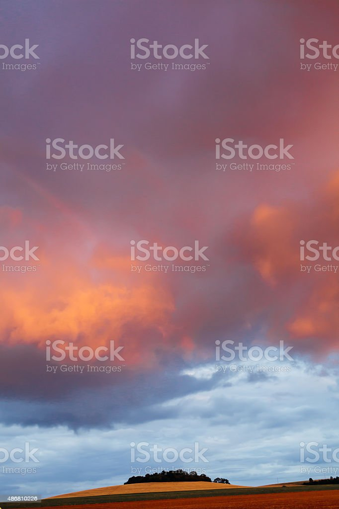 sunset in Burgundy stock photo