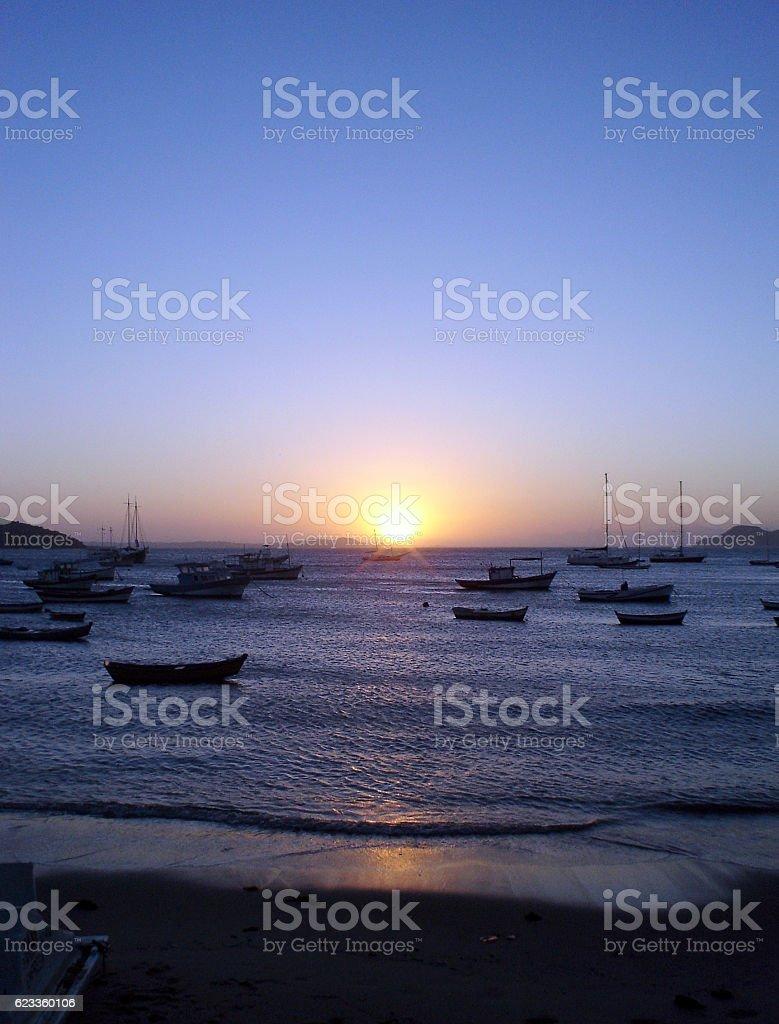 Sunset in Buzios beach in Brazil stock photo