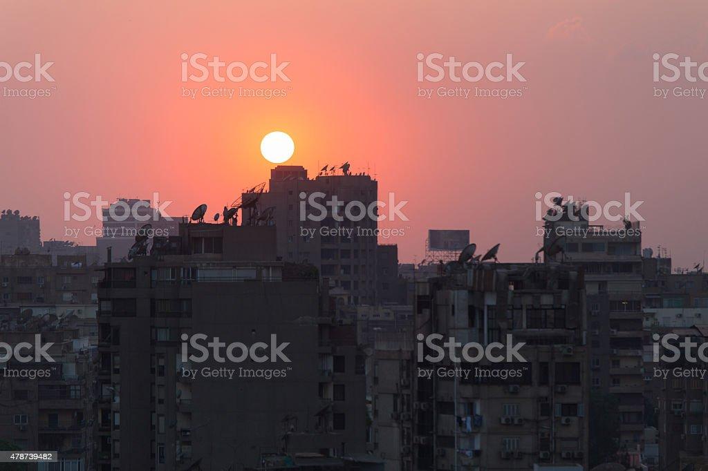 Sunset in Cairo center stock photo