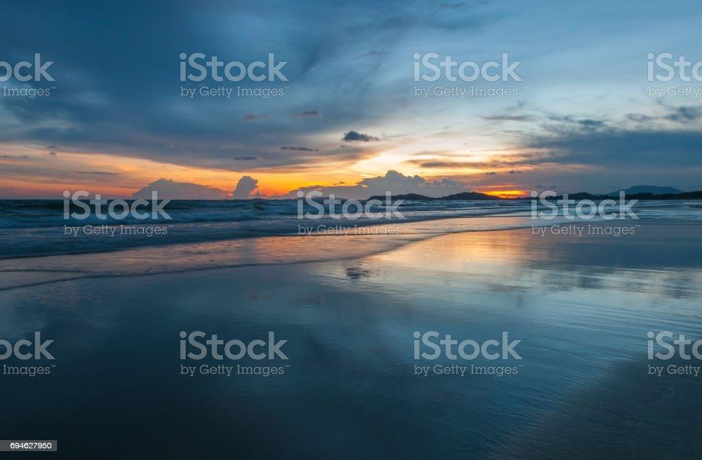 Sunset in Cambodia stock photo