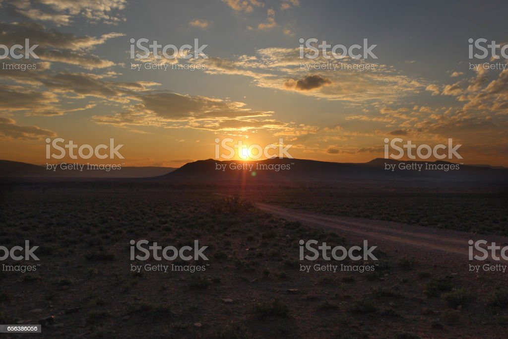Sunset in Camdeboo National Park – South Africa stock photo