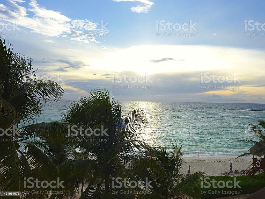 Sunset in Cancun royalty-free stock photo