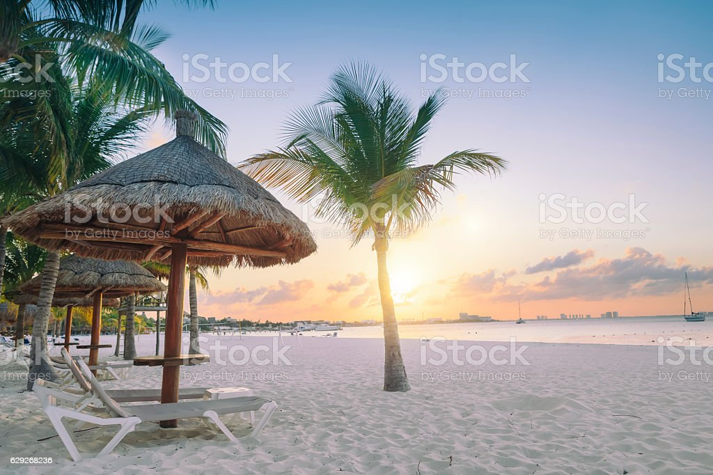 Sunset in Cancun stock photo