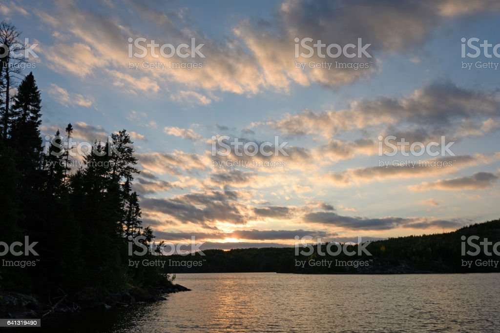 Sunset in Canoe Country stock photo