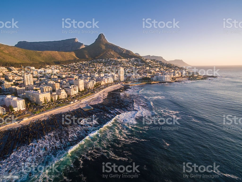 Sunset in Cape Town stock photo