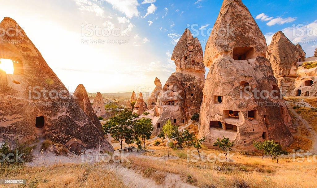 Sunset in Cappadocia, Turkey stock photo