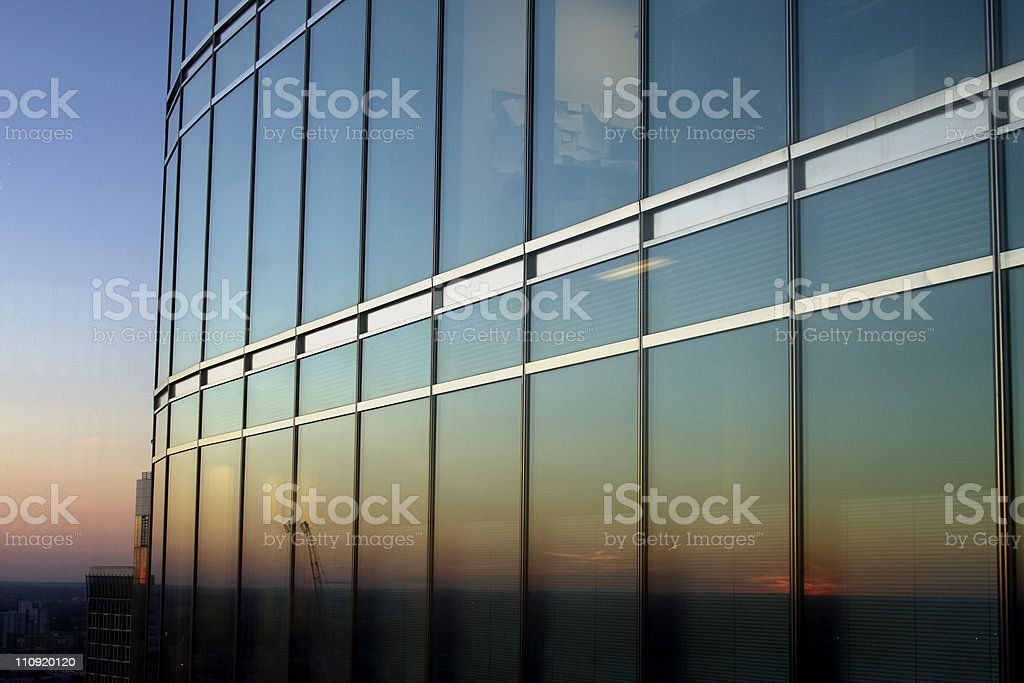 Sunset in Chicago stock photo
