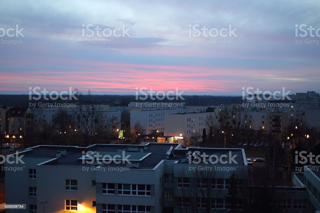 sunset in city royalty-free stock photo