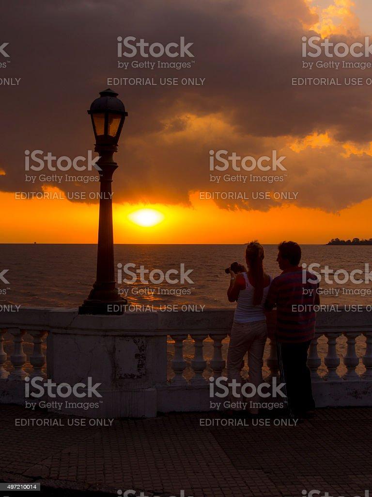 Sunset in Colonia del Sacramento, Uruguay stock photo