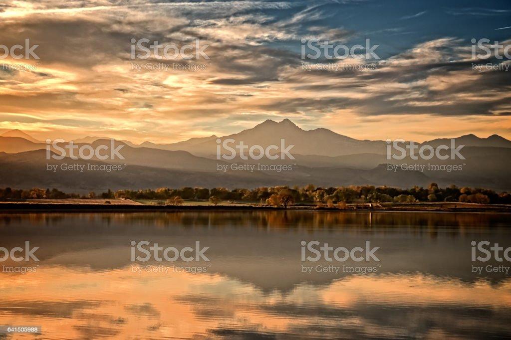 Sunset in Colorado stock photo