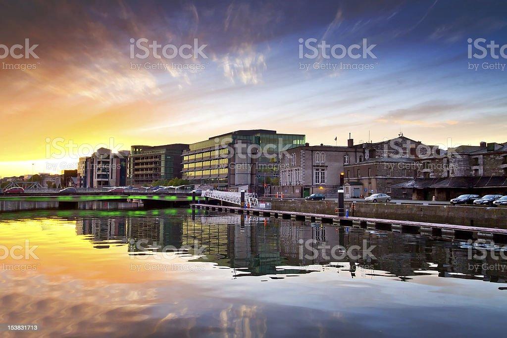 Sunset in Cork city, Ireland stock photo