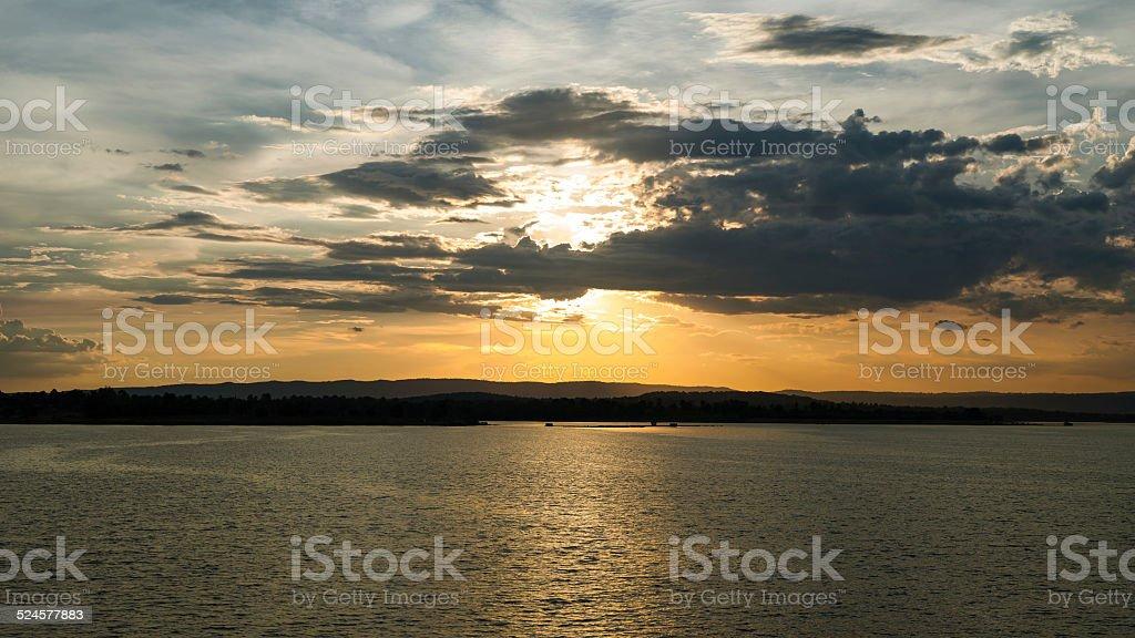 Sunset in dam royalty-free stock photo