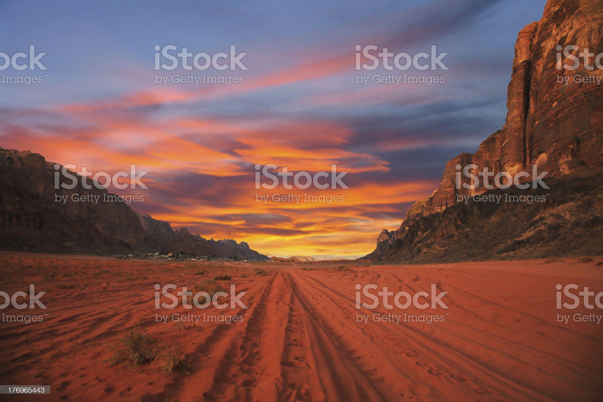 Sunset in desert royalty-free stock photo
