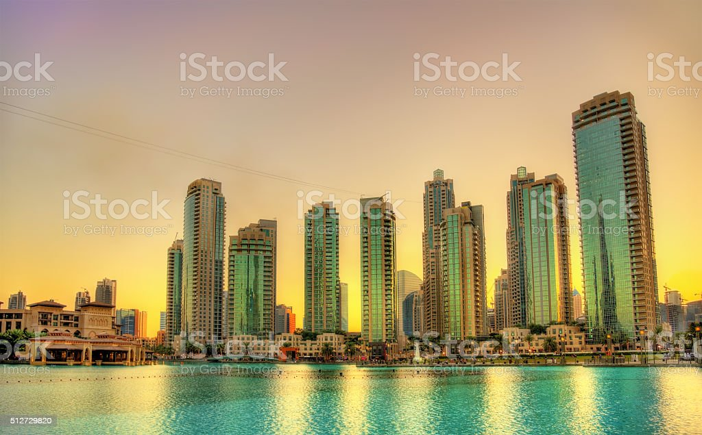 Sunset in Dubai Downtown, United Arab Emirates stock photo