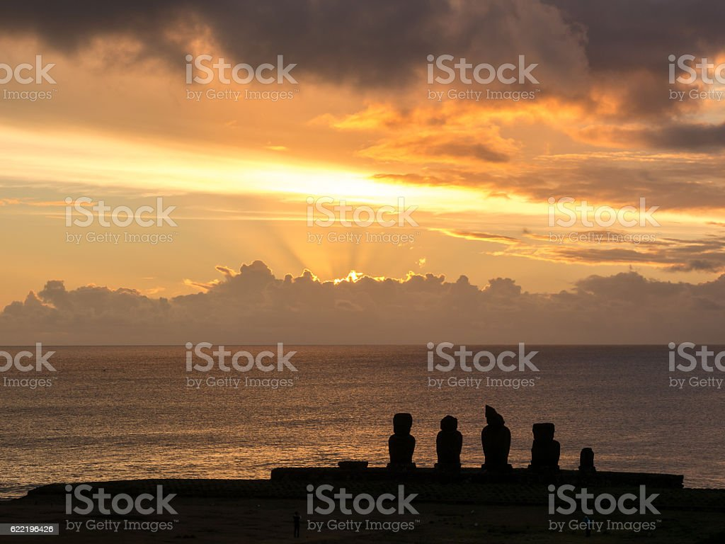 Sunset in Easter Island stock photo