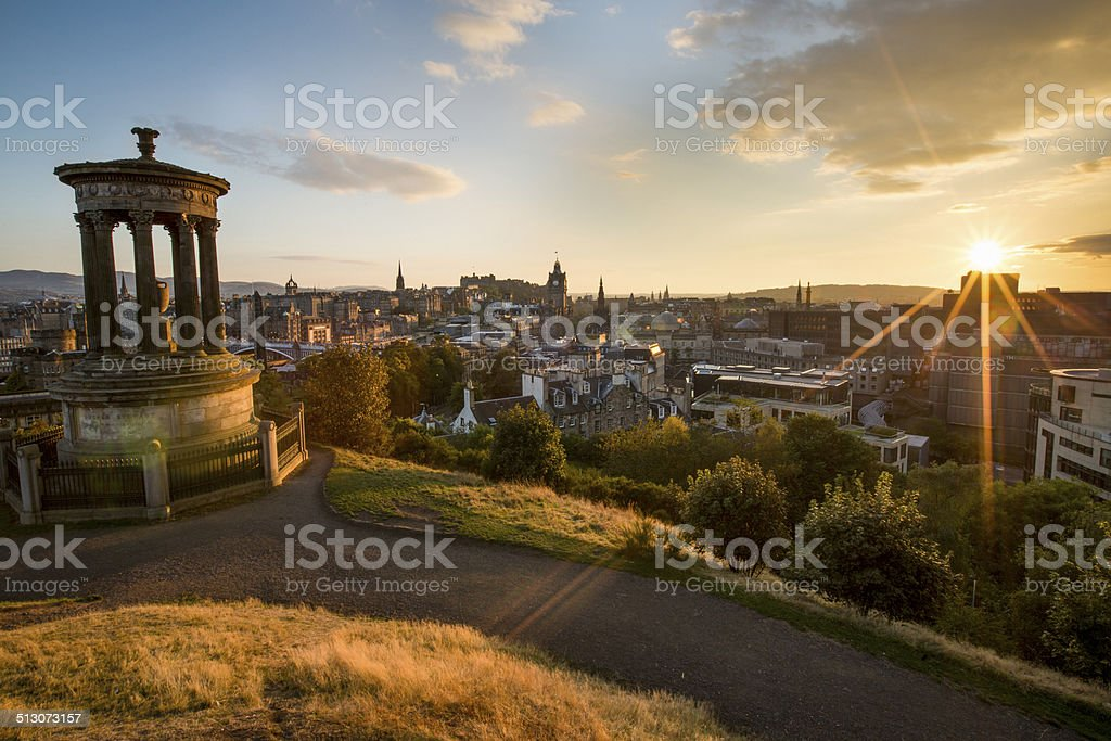 Sunset in Edinburgh stock photo
