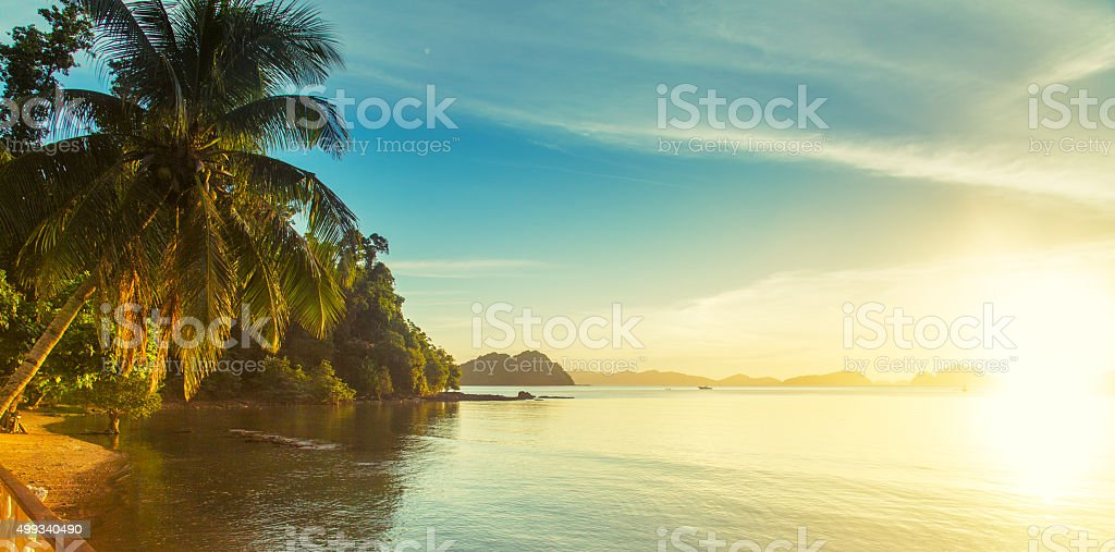 Sunset in El Nido, Philippines stock photo