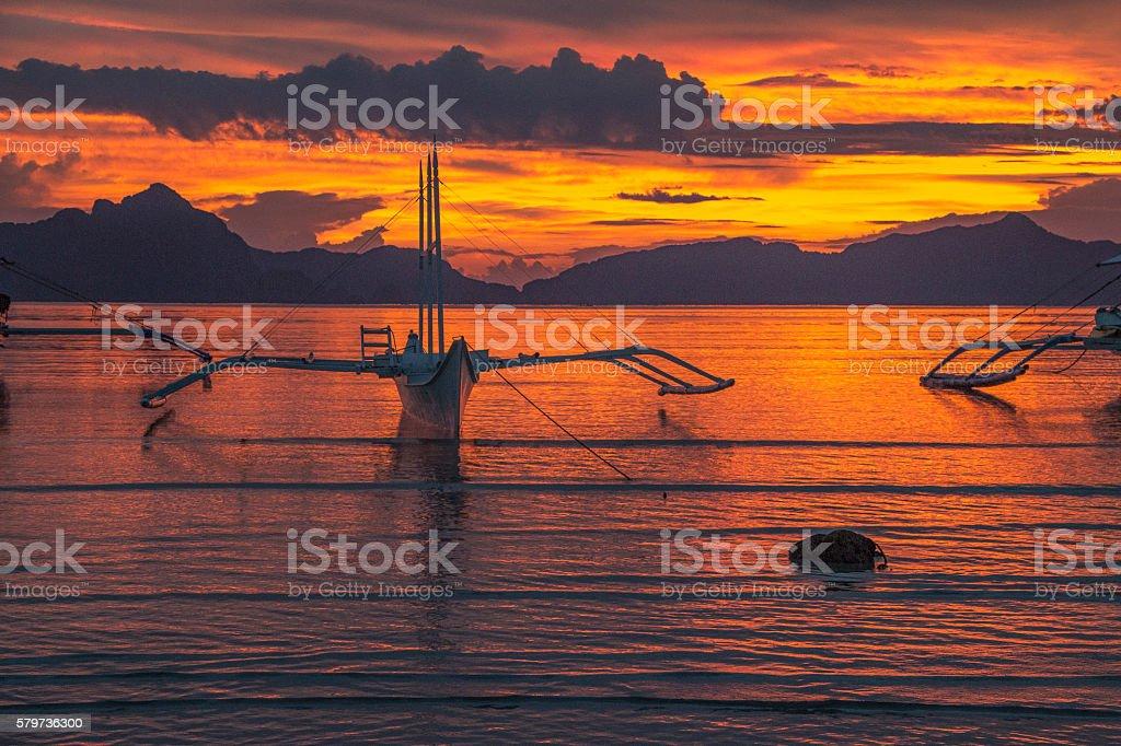 Sunset in El Nido stock photo