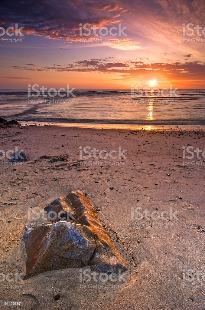 Sunset in Esposende, Northern Portugal royalty-free stock photo