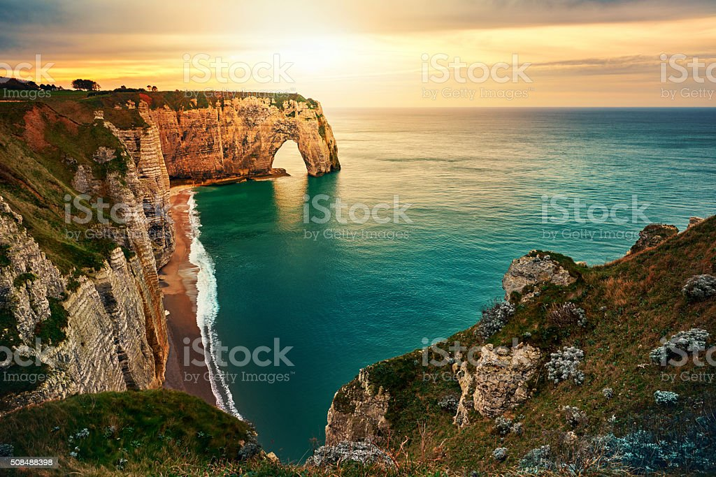 sunset in Etretat stock photo