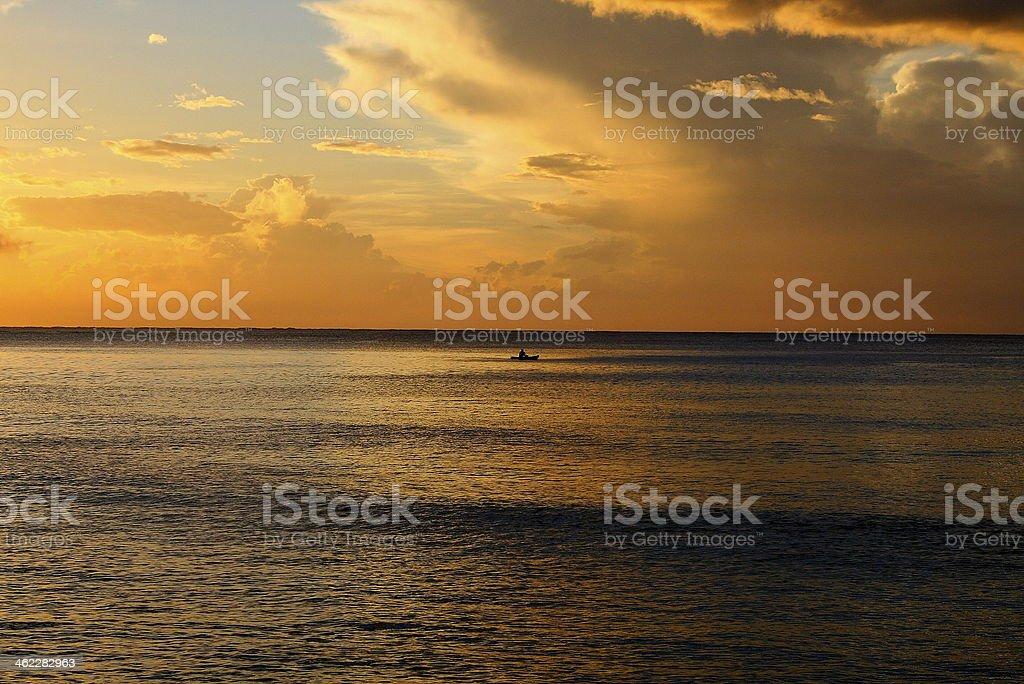 Sunset in Fiji stock photo