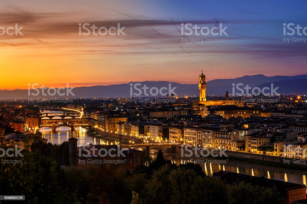 Sunset in Florence, Italy stock photo