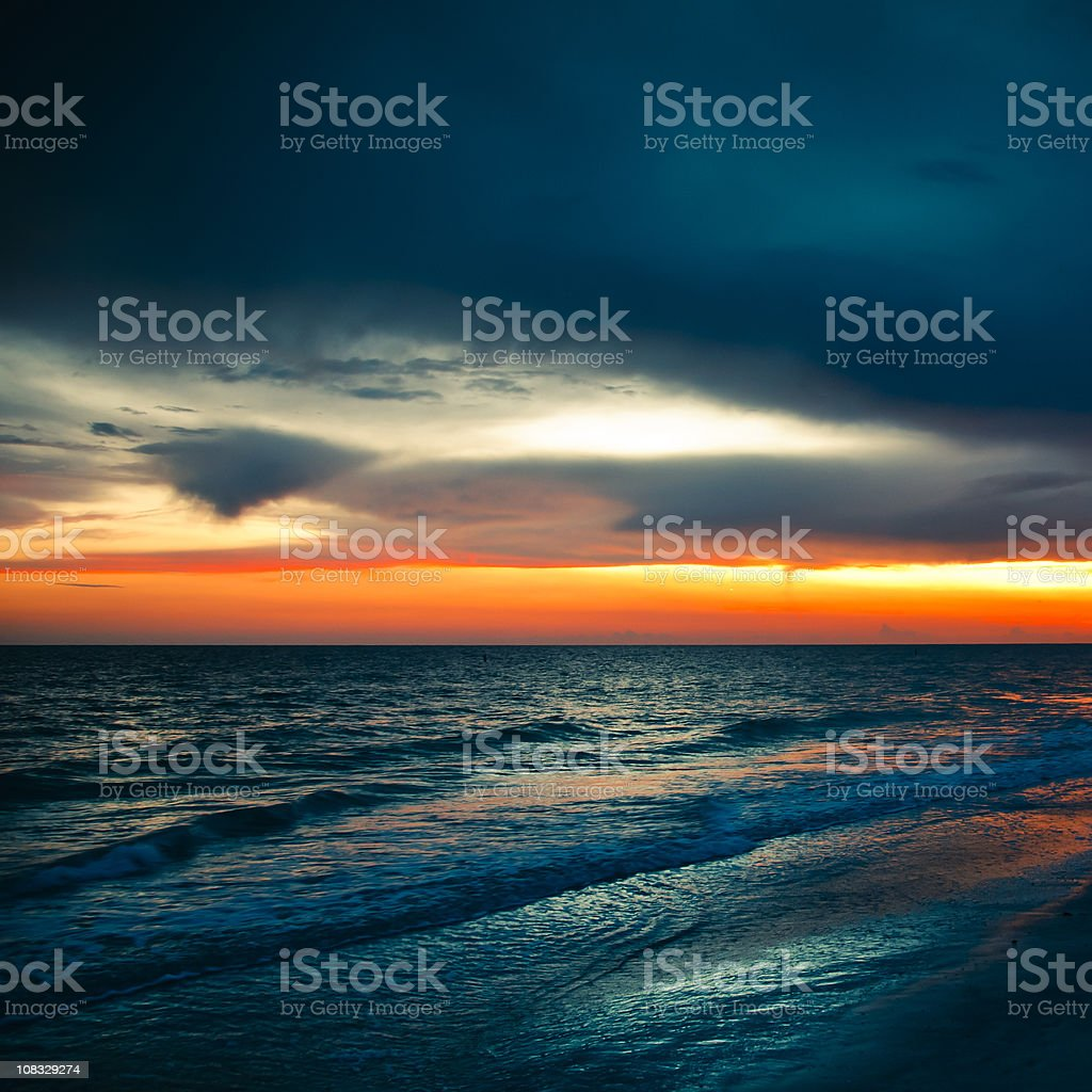 Sunset in Florida Beach royalty-free stock photo