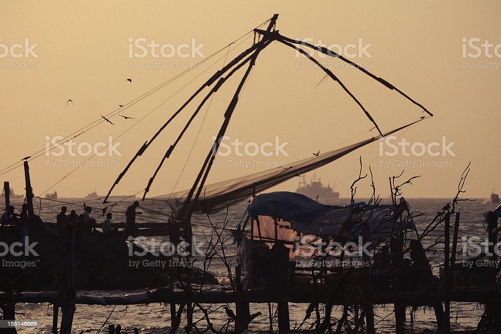sunset in Fort Kochi stock photo