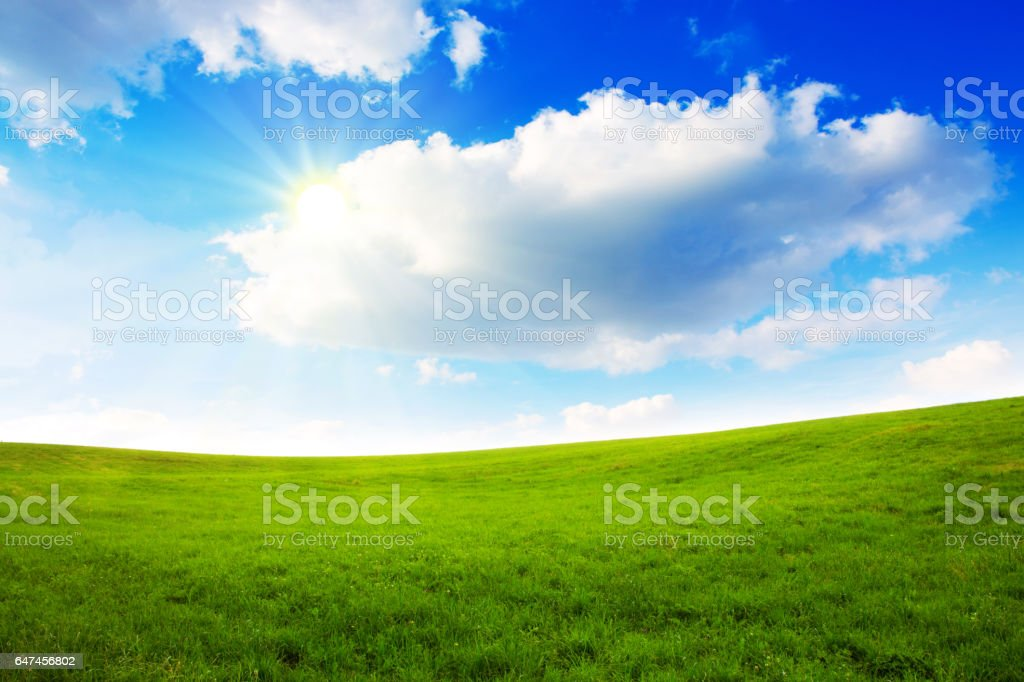 Sunset in German summer field stock photo