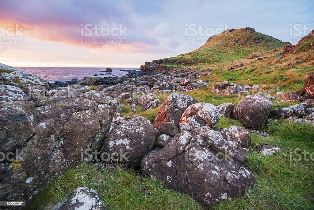 Sunset in Giant's Causeway Country Antrim Northern Ireland stock photo