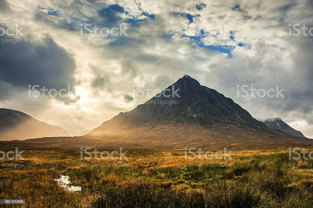 Sunset in Glen Etive stock photo