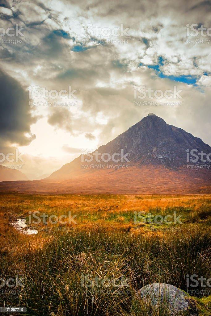 Sunset in Glen Etive stock photo