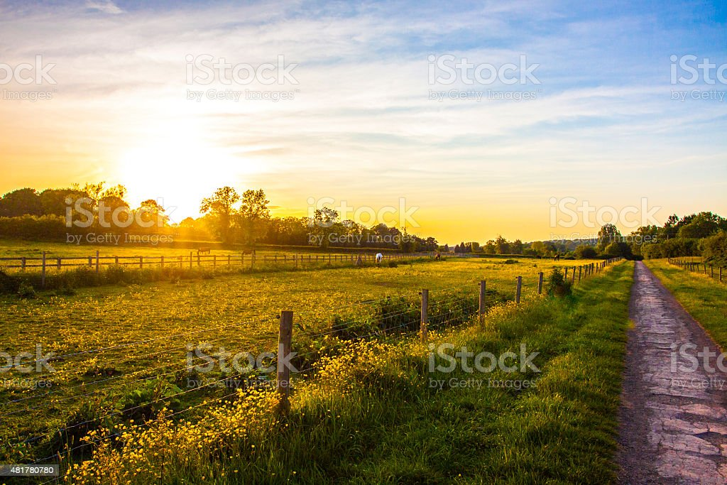 Sunset in Gloucestershire stock photo