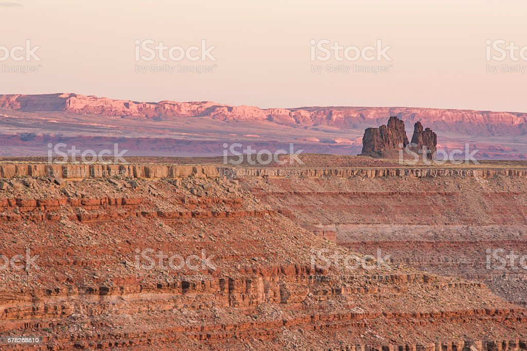 Sunset in Goosenecks park in Utah with geological formation stock photo