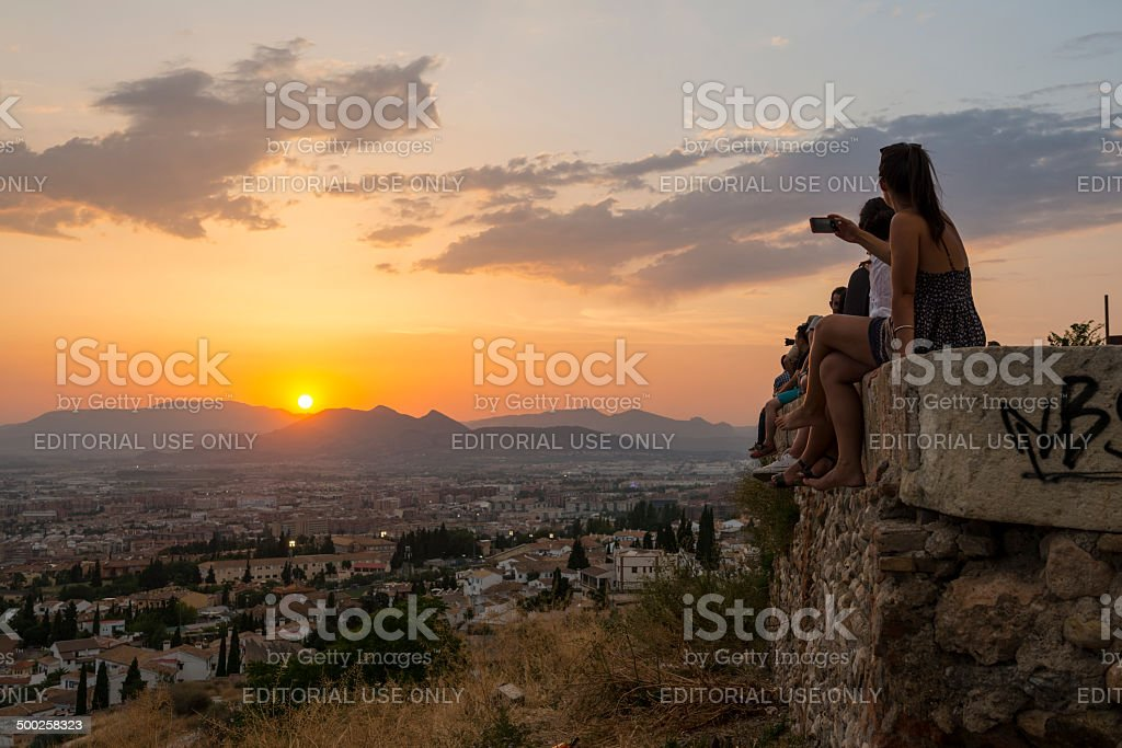 Sunset in Granada, Spain stock photo