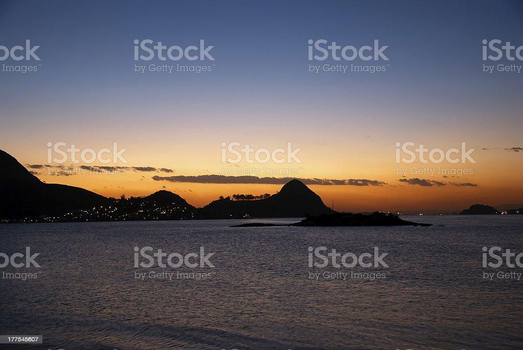 Sunset in Guanabara Bay royalty-free stock photo