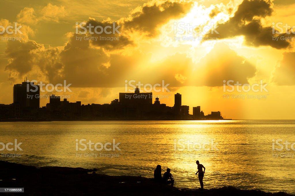 Sunset in Habana stock photo