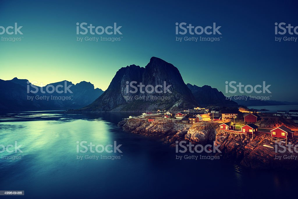 sunset in Hamnoy village, Lofoten islands, Norway stock photo