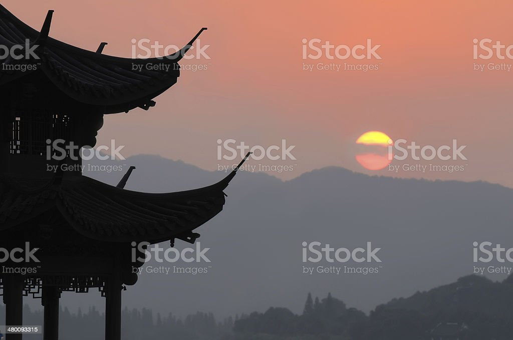 Sunset in Hangzhou, China stock photo