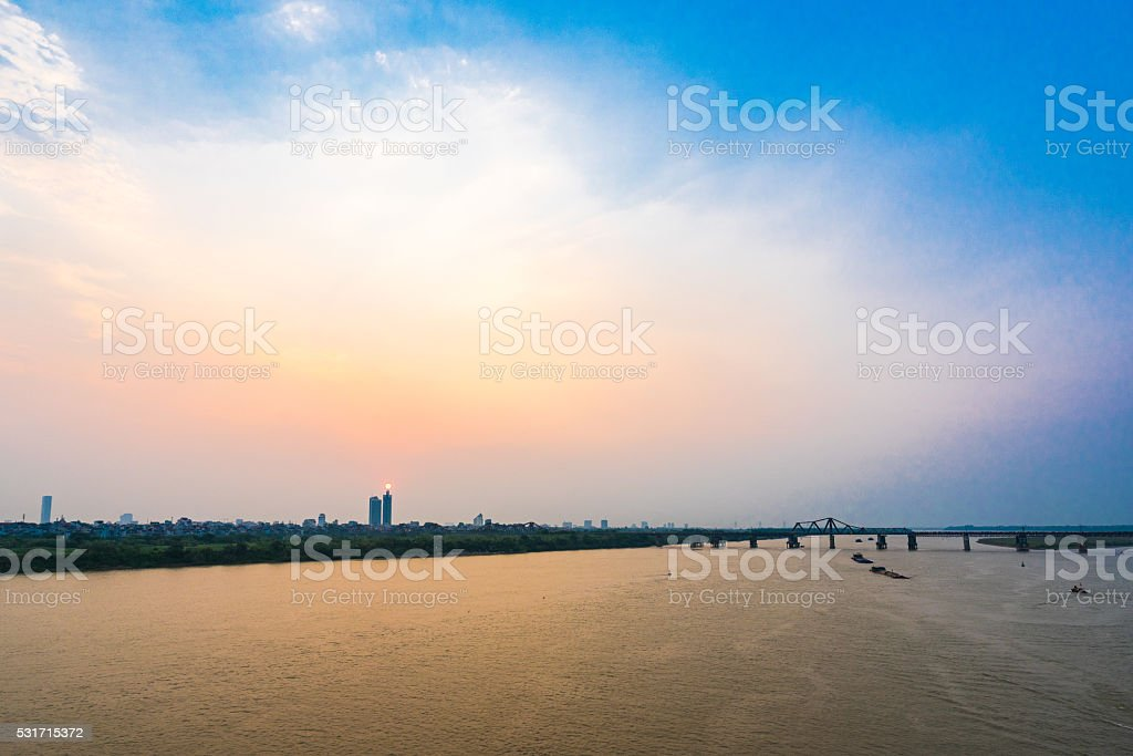 Sunset in Hanoi stock photo