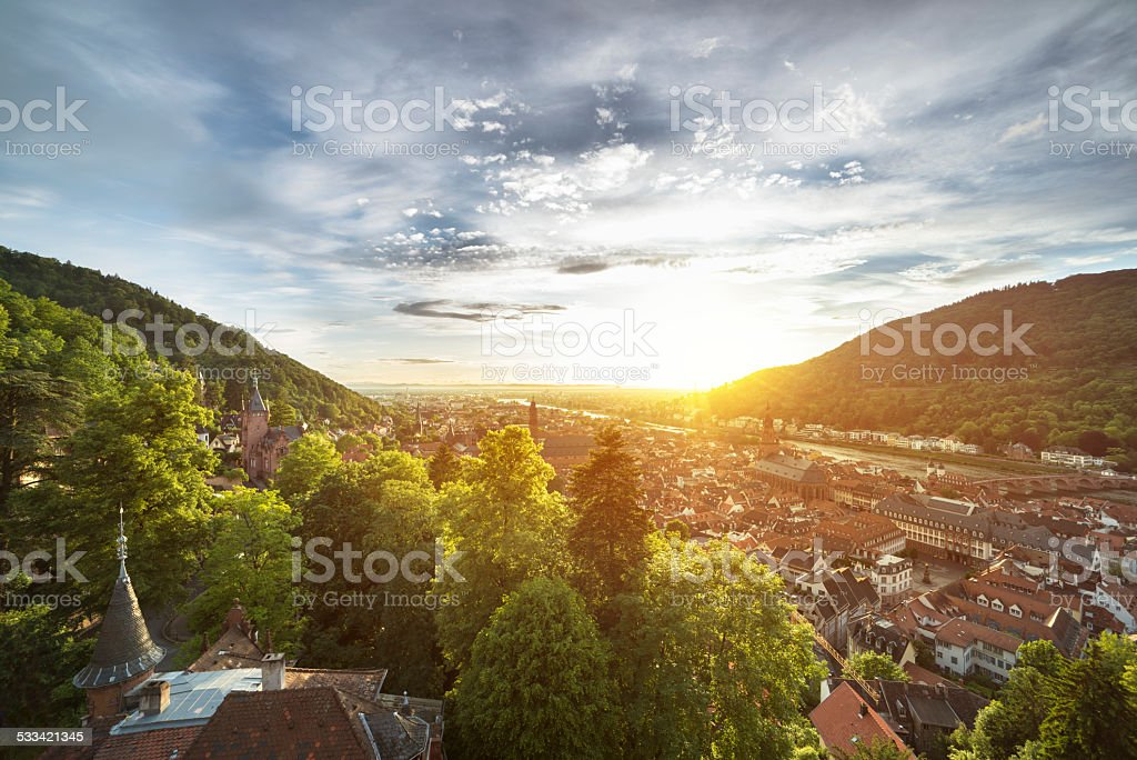 Sunset in Heidelberg stock photo