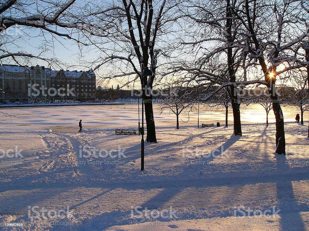 Sunset in Helsinki royalty-free stock photo