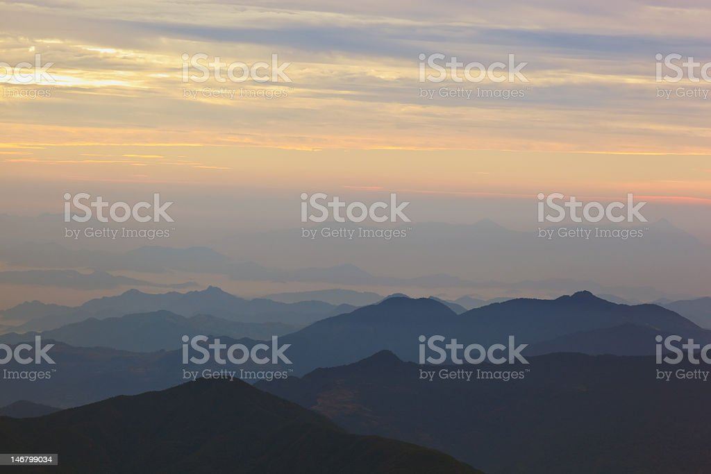 Sunset in Himalayas royalty-free stock photo