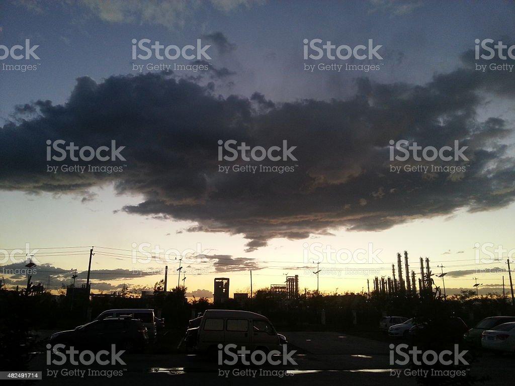 Sunset in Hohhot, Inner Mongolia, China stock photo
