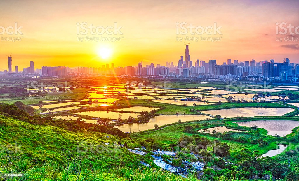 sunset in hong kong and Shenzhen city countryside stock photo