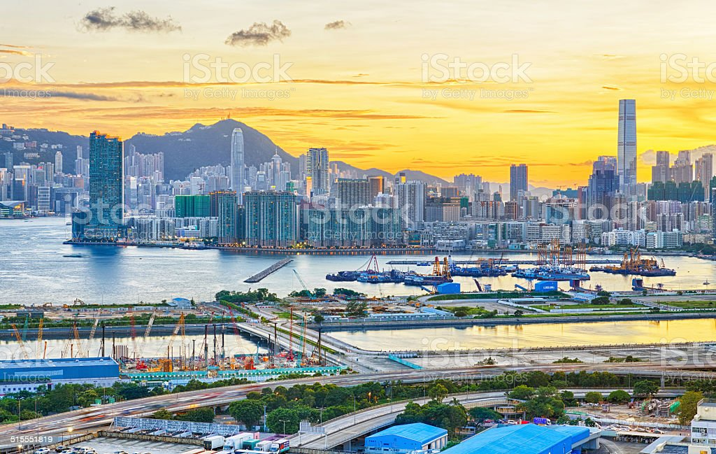 Sunset in Hong Kong stock photo