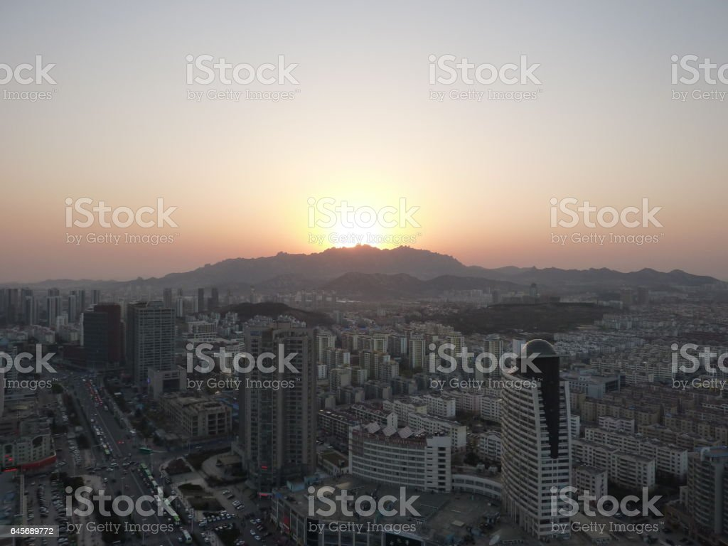 Sunset in Huangdao stock photo