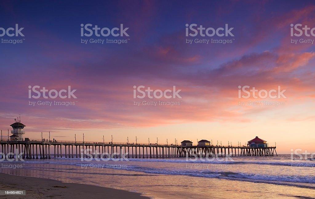 Sunset in Huntington Beach stock photo